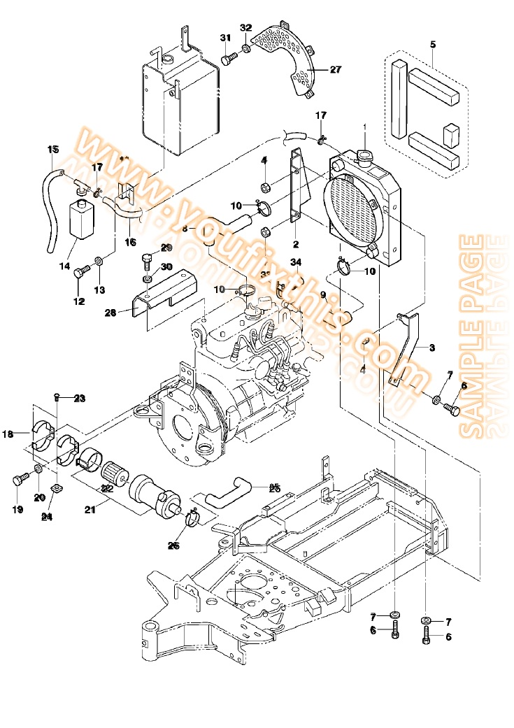 Bobcat D Series 331d 331e 334d Parts Manual Excavator on idler arm