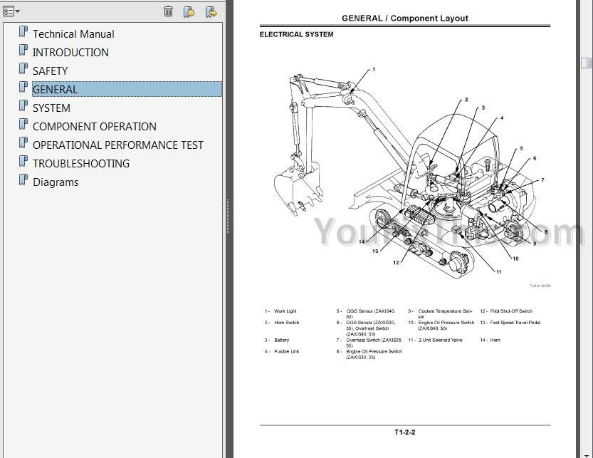 hitachi zaxis 30 35 40 50 repair manual  excavator