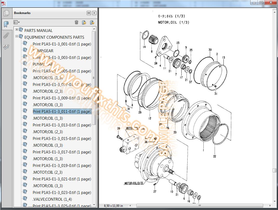 hitachi exur  illustrated parts list manual excavator