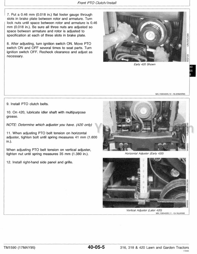 John Deere 316 318 420 Repair Manual  Lawn Garden Tractor