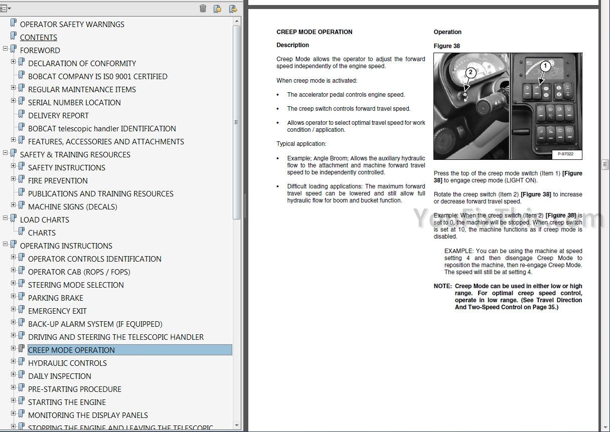 Bobcat Telescopic Handlers Operators and Maintenance Manuals
